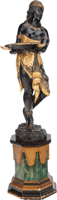 A VENETIAN CARVED AND PAINTED BLACKAMOOR FIGURE, 19th century 53-1/2 inches high (135.9 cm)