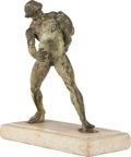 Fine Art - Painting, European:Antique  (Pre 1900), A GRECO-ROMAN STYLE BRONZE FIGURE OF AN ATHLETE ON MARBLE BASEAFTER VARLESE, circa 1900. 20 inches high (50.8 cm). ...