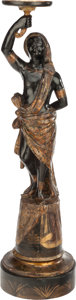 Decorative Arts, Continental:Other , A VENETIAN CARVED PAINTED AND PARCEL GILT WOOD BLACKAMOOR FIGURE,19th century. 50 inches high (127 cm). ...