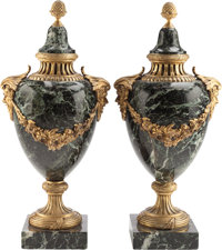 A PAIR OF ITALIAN MARBLE AND GILT BRONZE URNS, circa 1900 16-1/2 inches high (41.9 cm)