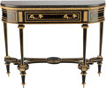 Furniture , A LOUIS XVI GILT BRONZE AND EBONIZED WOOD CONSOLE WITH MARBLE TOP, late 18th century. 33-3/4 x 42-1/2 x 13-3/4 inches (85.7 ... (Total: 2 Items)