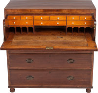 A SHERATON-STYLE THREE-DRAWER SECRETARY, late 19th century 42-1/2 x 40-3/4 x 18-3/8 inches (108.0 x 103.5 x 46.7 c