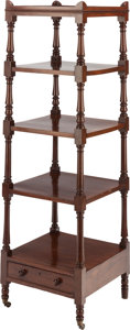 Furniture , AN EDWARDIAN MAHOGANY FIVE-TIERED STAND, early 20th century. 53-1/4 x 16-3/4 x 16-1/2 inches (135.3 x 42.5 x 41.9 cm). ...