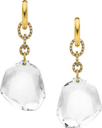H. Stern Rock Crystal Quartz, Diamond, Gold Earrings