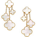 Estate Jewelry:Earrings, Van Cleef & Arpels Mother-of-Pearl, Gold Earrings. ...
