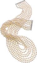 Estate Jewelry:Pearls, Cultured Pearl, White Gold Necklace. ...