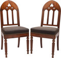 Furniture : American, A PAIR OF GOTHIC REVIVAL MAHOGANY UPHOLSTERED HALL CHAIRS, circa1865. 36-5/8 x 17 x 16 inches (93.0 x 43.2 x 40.6 cm). ... (Total:2 Items)