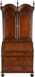 Furniture : English, A GEORGE II BURLED WALNUT DOUBLE BONNET TOP SECRETARY BOOKCASE,18th century. 88-5/8 x 39-3/4 x 20-1/4 inches (225.1 x 101.0...