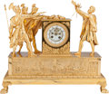Decorative Arts, French:Other , AN EMPIRE-STYLE GILT BRONZE FIGURAL MANTEL CLOCK, 20th century.Marks: Medaille de Bronze, S Marti et Cie. 18 x 21 x 8-1...