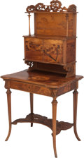 Furniture : French, A GALLÉ MARQUETRY LADY'S WRITING DESK, Émile Gallé, Nancy, France, circa 1890. Marks: gallé. 60 x 30-1/2 x 22 inches (15...