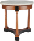 Furniture : Continental, A CONTINENTAL NEOCLASSICAL MAPLE, EBONIZED WOOD, BRASS AND MARBLETABLE, circa 1820. 28-1/2 inches high x 27 inches diameter...