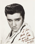 Music Memorabilia:Autographs and Signed Items, Elvis Presley Signed and Inscribed Oversized Portrait by BudFraker....