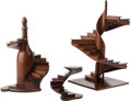 Decorative Arts, Continental:Other , THREE EDWARDIAN OAK ARCHITECTURAL STAIRCASE MODELS, . 19th/20thcentury. 17 high x 8-3/4 wide x 8-1/2 deep inches (43.2 x 2...(Total: 3 Items)