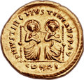 Ancients:Byzantine, Ancients: Justin I and Justinian I (AD 527). AV solidus (22mm, 4.45 gm, 6h). ...