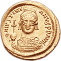 Ancients:Byzantine, Ancients: Justinian I the Great (AD 527-565). AV solidus (22mm,4.45 gm, 6h). ...
