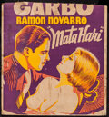 "Movie Posters:Romance, Mata Hari (MGM, 1931). Trimmed Locally Produced Jumbo Window Card (21"" X 22.25""). Romance.. ..."