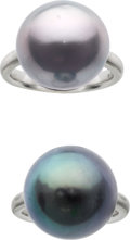 Estate Jewelry:Rings, South Sea Cultured Pearl, White Gold Rings. ... (Total: 2 Items)
