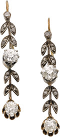 Estate Jewelry:Earrings, Antique Diamond, Silver-Topped Gold Earrings. ...