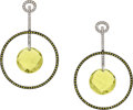 Estate Jewelry:Earrings, Diamond, Colored Diamond, Citrine, White Gold Earrings. ...