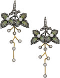 Estate Jewelry:Earrings, Diamond, Cultured Pearl, Enamel, Silver-Topped Gold Earrings. ...