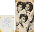 Music Memorabilia:Autographs and Signed Items, The Dixie Cups - Two Vintage Signed Items. ...