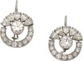 Estate Jewelry:Earrings, Diamond, Platinum, White Gold Earrings. ...
