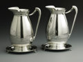 Silver Holloware, American:Water Pitchers, Two American Silver Water Pitchers With Underplates. Mark of Ball,Black & Company, New York, NY, Late Nineteenth Century.