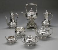An American Silver Tea Service Tiffany & Co., New York, NY, Late Nineteenth Century  The seven piece set comprising...