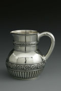 Silver Holloware, American:Pitchers, An American Silver Pitcher. Mark of Tiffany & Co., New York,NY, 1874. The four-and-a-half-pint pitcher with two floral ba...
