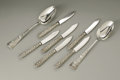 Silver & Vertu:Flatware, A group of six sterling knives and two spoons. American, Late 19th/Early 20th century. A set of six sterling breakfast or ... (Total: 8 Items Item)