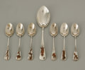 Silver & Vertu:Flatware, Six American Silver And Mixed Metal Demitasse Spoons And Serving Spoon. Gorham Manufacturing Company, Providence, RI, . Th... (Total: 7 Items Item)