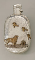 Silver Holloware, American:Flasks, An American Mixed Metal Flask. Gorham, Providence, RI, 1882. Thesterling oval flask with hammered body and unique mixed m...