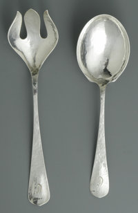 An American Silver Salad Set Mark of Lebolt & Co., Chicago, IL, Twentieth Century  The hammered fork and spoon, mono...