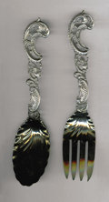 Silver Flatware, American:Other , An American Silver Salad Set. Maker unknown, Twentieth Century. Thegilt end salad set with scroll handles, marked on ... (Total: 2Items)