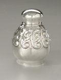 Silver Flatware, American:Dominick & Haff, A Sterling Tea Caddy. Dominick & Haff, New York, 1889. Asterling tea caddy with round teardrop shaped body and a plainfr...