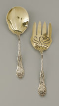 Silver Flatware, American:Other , An American Silver Salad Set. R. Blackinton & Co., NorthAttleboro, MA, 1901. The gilt end salad set with thistle patt...(Total: 2 Items)