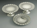 Silver & Vertu:Hollowware, Three American Silver Cake Stands. Mark of Tiffany & Co., New York, NY, 1907. The three reticulated stands, marked undersi... (Total: 3 Items Item)