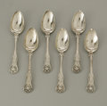 Silver Flatware, British:Flatware, Six English Silver Spoons. James Beebe, London, England, 1838 &1844. All spoons in the 'Shell' pattern, monogram to t... (Total: 6Items)
