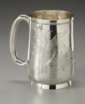 Silver Holloware, British:Holloware, An English Silver Cup. Maker unknown, Birmingham, England, 1877.The cup with engraved birds to the side, hallmarks ne...