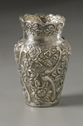 Silver Holloware, Continental:Holloware, A Silver Cabinet Vase. Maker unknown, Early Twentieth Century.Floral repousse vase, unidentified hallmark underside ...