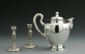 Silver Holloware, Continental:Holloware, Two Spanish Silver Candlesticks And A Mexican Teapot. Marks ofUnknown maker, Spain; and Mexico, Mid-Twentieth Century. Th...(Total: 3 Items)
