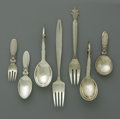 Silver Flatware, Continental:Flatware, A Danish Silver Group of Flatware. Georg Jensen, Copenhagen,Denmark, Twentieth Century. The group comprises a 'Cactus' pa...(Total: 7 Items)
