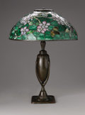 Art Glass:Tiffany , A Fine Tiffany Favrile Glass and Bronze Apple Blossom TableLamp. Tiffany Studios, New York, c. 1899-1920. The dom... (Total: 2Items)