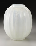 Art Glass:Lalique, A French Glass Vase. R. Lalique, 1932. The opalescent vase in the'Biskra' pattern, marked underside R. LALIQUE FRAN...