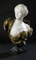 Decorative Arts, French:Other , Henri Weigele (French, 1858-1927)c.1900-1915. Portrait of Diana.Carrara Marble and Gilt Bronze. 28.5in. x 23in. x 12in.. Si...