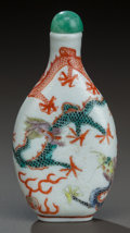 Asian:Chinese, A CHINESE PORCELAIN SNUFF BOTTLE, 19th century. Marks: (chopmarks). 3 inches high (7.6 cm). ...