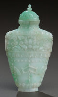 Asian:Chinese, A CHINESE JADEITE SNUFF BOTTLE, 19th century. 2-3/4 inches high(7.0 cm). ...