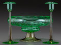 Glass, FREDERICK CARTER STEUBEN GLASS POMONA GREEN AND TOPAZ CENTER BOWL AND TWO ENGRAVED CANDLESTICKS, circa 1920. 6-1... (Total: 3 Items)