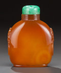 Asian:Chinese, A CHINESE AGATE SNUFF BOTTLE, 19th century. 3-1/8 inches high (7.9cm). ...
