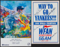 Baseball Collectibles:Others, Yankees Greats Signed Promotional Pieces Lot of 2....